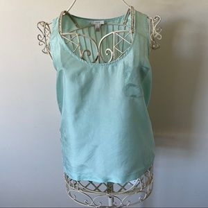J.Crew Mint Green Silk Pocket Tank-Size 2